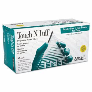 Touch N Tuff Disposable Nitrile Gloves, 100 Large Gloves (ANS 92-600-L)