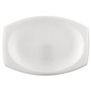 "Solo Cup Company Foam Dinnerware, Oval Platter, 6 3/4"" x 9 4/5"", White, 125/Pack, 4 Packs/Carton (DCC9PRWCR)"