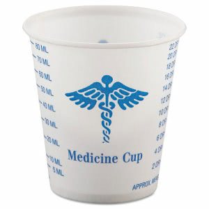 Solo Paper Medical & Dental Graduated Cups, 3oz, White/Blue, 100 per Bag (SCCR3)