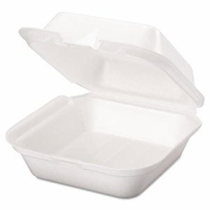 Genpak Snap It Foam Hinged Sandwich Container, Jumbo, White, 100/Bag (GNPSN227)
