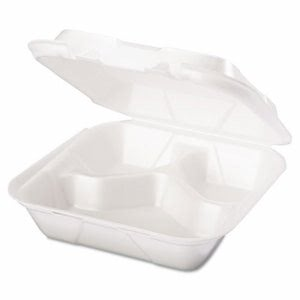 Medium 3 Compartment Foam Hinged Containers, 200 Containers (GNP SN243)
