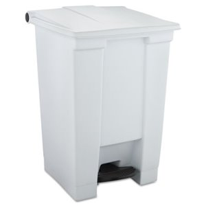 Rubbermaid 12 Gallon Step-On Plastic Waste Container, White (RCP 6144 WHI)