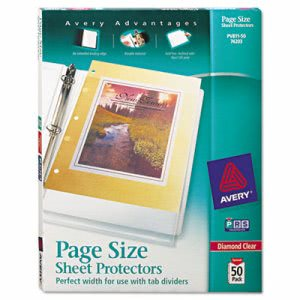 Avery Poly 3-Hole Punched Sheet Protectors, Clear, Letter, 50 per Box (AVE74203)
