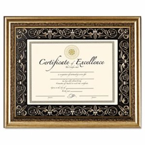 Dax Florence Document Frame with Mat, Gold, Plastic, 11 x 14 (DAXN2742S1T)