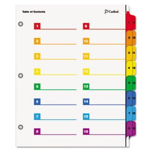 Cardinal Printable Table of Contents/Dividers, 32-Tab, Multicolored (CRD60970)