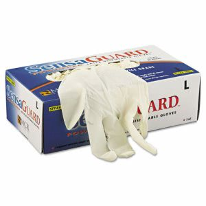 Memphis Industrial Grade Chlorinated Gloves, White, Large, 100 Gloves (MPG5060L)