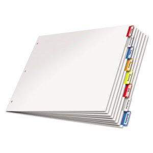 Cardinal Paper Insertable Dividers, 8-Tab, 11 x 17, Multicolor Tabs (CRD84816)