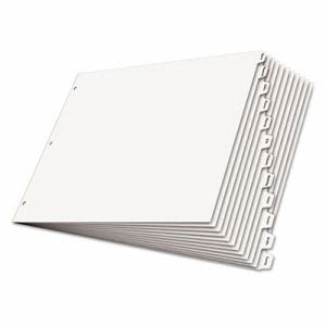 Cardinal Write 'n Erase Tabloid Index Dividers, 12-Tab, White (CRD84272)