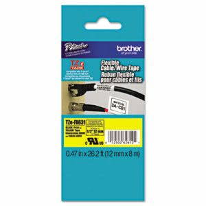 Brother P-Touch TZe Flexible Tape Cartridge, Black on Yellow (BRTTZEFX631)
