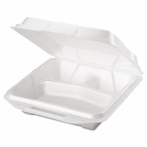 Large Three Compartment Foam Hinged Containers, 200 Containers (GNP 20310)