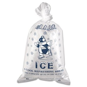 Clear Ice Bags with Twist Ties, 10-lb. Capacity, 1,000 Bags (IBS IC1221)