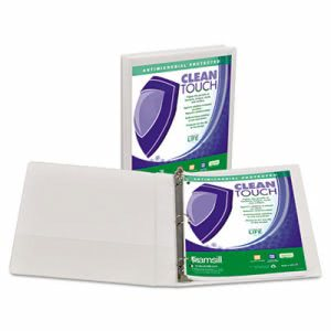 "Samsill Clean Locking Round Ring Binder, 1"" Capacity, White (SAM18237)"