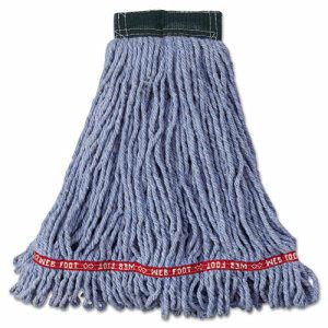 Rubbermaid Web Foot Wet Mop Heads, Shrinkless, Blue, Medium, 6 Mops (RCPA252BLU)
