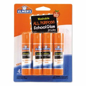 Elmer's Washable All Purpose School Glue Sticks, 4/Pack (EPIE542)
