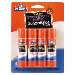 Elmer's Washable School Glue Sticks, Disappearing Purple, 4/Pack (EPIE543)