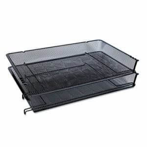 Universal Mesh Stackable Side Load Tray, Legal, Black, 1 Tray (UNV20012)