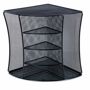 Universal Mesh Desktop Corner Organizer, Six Compartments, Black (UNV20016)