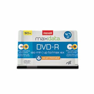 Maxell DVD-R Recordable Discs, 4.7GB, 16x, Spindle, White, 50/Pack (MAX638022)