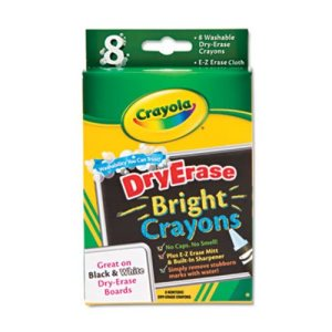 Crayola Washable Dry Erase Crayons w/E-Z Erase Cloth, 8/Box (CYO985202)