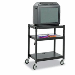 Safco Adjustable-Height Steel AV Cart, Black (SAF8932BL)