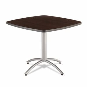 Iceberg CafeWorks Table, 36w x 36d x 30h, Walnut/Silver (ICE65614)