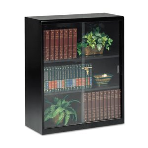 Tennsco Executive Steel Bookcase W/ Glass Doors, 3 Shelves, 36w x 15d x 42h, Black (TNN342GLBK)