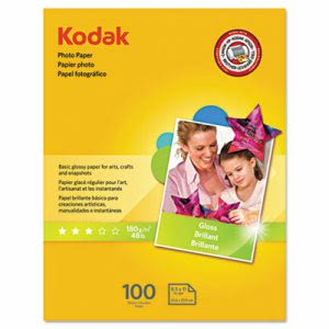 Kodak Photo Paper, 6.5 mil, Glossy, 8-1/2 x 11, 100 Sheets/Pack (KOD8209017)