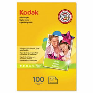Kodak Photo Paper, 44 lbs., Glossy, 4 x 6, 100 Sheets/Pack (KOD1743327)