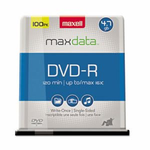 Maxell DVD-R Discs, 4.7GB, 16x, Spindle, Gold, 100/Pack (MAX638014)