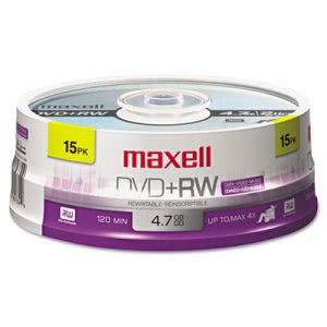 Maxell DVD+RW Discs, 4.7GB, 4x, Spindle, Silver, 15/Pack (MAX634046)