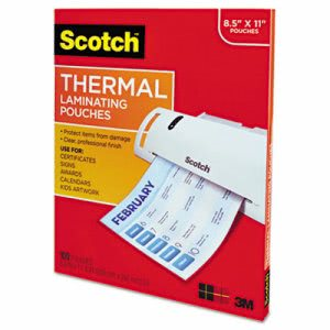 Scotch Letter Size Thermal Laminating Pouches, 100 Pouches (MMMTP3854100)