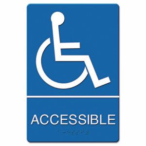 ADA Sign Wheelchair Accessible, Tactile Symbol/Braille, Blue/White (USS4725)