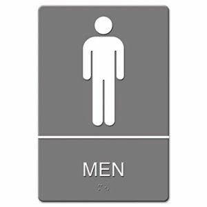 U.S. Stamp & Sign Men ADA Restroom Sign, Gray, Each (UST 4817)