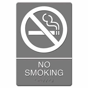 Headline Sign ADA Sign, No Smoking Symbol w/Tactile Graphic, Molded Plastic, 6 x 9, Gray (USS4813)