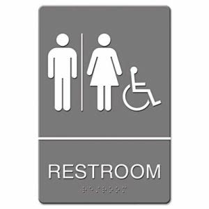 U.S. Stamp & Sign Restroom HC Accessible Symbol ADA Sign, Each (UST 4811)