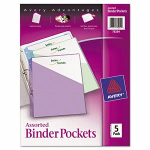 Avery Binder Polypropylene Pockets, 8-1/2 x 11, Assorted, 5 Pockets (AVE75254)