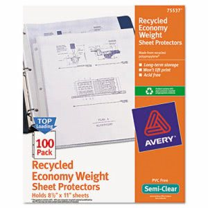 Avery Top-Load Recycled Sheet Protector, Semi-Clear, 100 per Box (AVE75537)