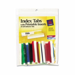 "Avery Tabs with White Inserts, 2"" Assorted Tab, 25 Tabs (AVE16239)"