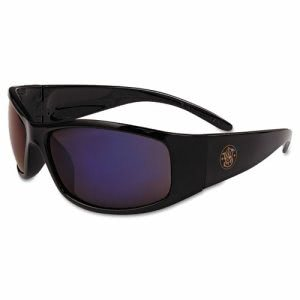 Smith & Wesson Elite Safety Glasses, Black Frame, Blue Mirror Lens (SMW21307)
