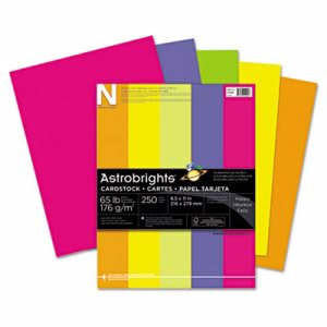Wausau Paper Astrobrights Colored Card Stock, 65 lbs., 8-1/2 x 11, Assorted, 250 Sheets (WAU21004)