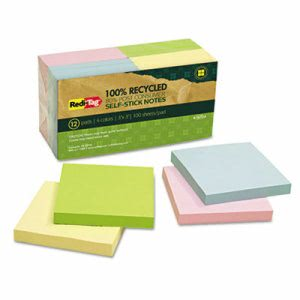 Redi-tag 100% Recycled Notes, 3 x 3, Four Colors, 12-100-Sheet Pads (RTG26704)