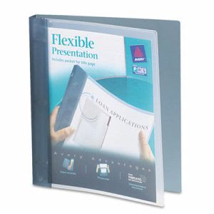 "Avery Flexible Round Ring Presentation Binder, 1"" Capacity, Gray (AVE17676)"