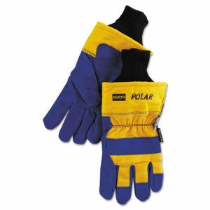 North Safety Insulated Leather Palm Gloves, Blue/Yellow, Lg, 6 Pr (NSP706465NK)