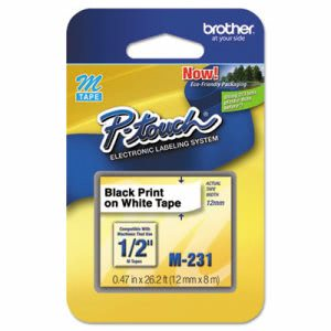 Brother M Series Tape Cartridge for P-Touch Labelers, Black on White (BRTM231)