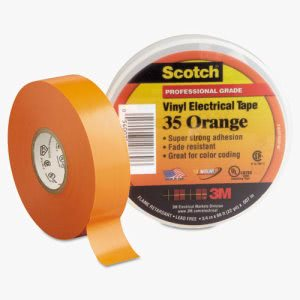 "Scotch 35 Vinyl Electrical Color Coding Tape, 3/4"" x 66ft, Orange (MMM10869)"