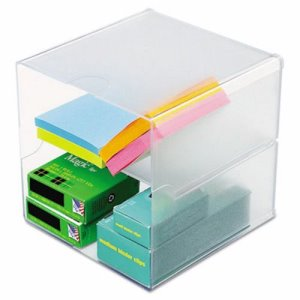 Deflect-o Desk Cube, Divided, Clear, 6 x 6 x 6 (DEF350701)