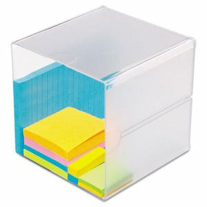 Deflect-o Desk Cube, Clear Plastic, 6 x 6 x 6, Each (DEF350401)