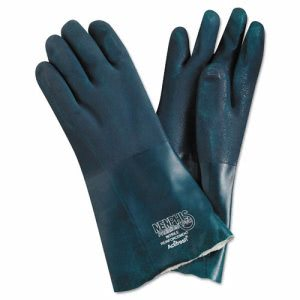 "Memphis Chemical-Resistant PVC Green Gloves, 14"" Length, Large, Dozen (MPG6414)"