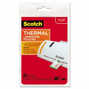 Scotch Thermal Laminating Pouches, 3 3/4 x 2 3/8, 20 Pouches (MMMTP585120)