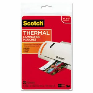 Scotch Photo size thermal laminating pouches, 6 x 4, 20 Pouches (MMMTP590020)
